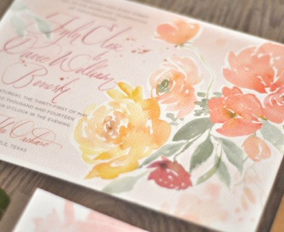 Tyler + David's Floral Watercolor Wedding Invitations