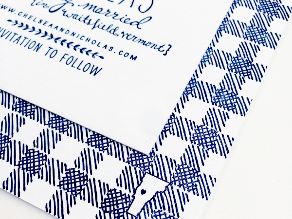 Hand Drawn Gingham Letterpress Save the Dates Robinson Press5 Chelsea + Nicks Hand Drawn Gingham Save the Dates