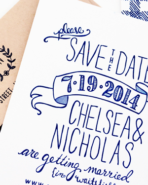 Hand Drawn Gingham Letterpress Save the Dates Robinson Press6 Chelsea + Nicks Hand Drawn Gingham Save the Dates