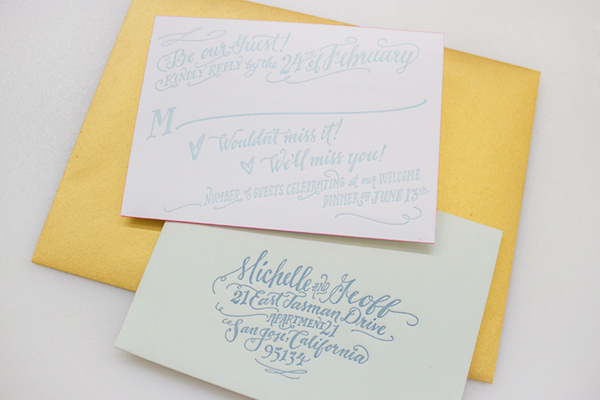 Neon Gold Foil Hand Lettered Wedding Invitations Ladyfingers Letterpress2 Michelle + Geoffs Gold Foil Hand Lettered Wedding Invitations