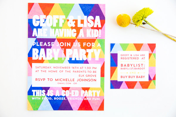Rainbow Geometric Baby Shower Invitations The Goodness3 Lisas Rainbow Geometric Baby Shower Invitations