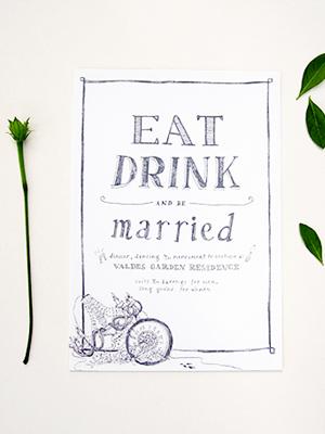Whimsical Black White Illustrated Wedding Invitations Paulina Ortega3 Stefanie + Martins Whimsical Illustrated Wedding Invitations