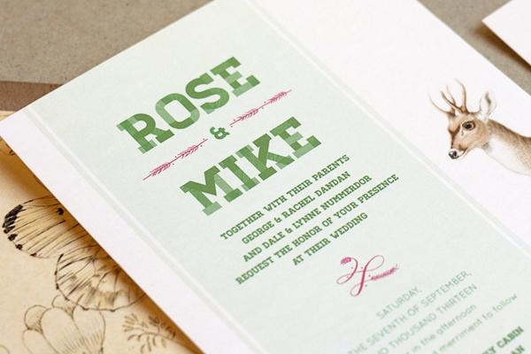 Woodland Wedding Invitations Frances Close5 Rose + Mikes Woodland Wedding Invitations