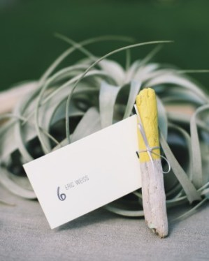 Yellow Wedding Escort Cards Happy Menocal Delbarr Moradi Photography 300x375 Wedding Stationery Inspiration: Sunshine Yellow