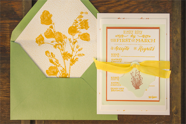 Hand Lettered Wedding Invitations Ladyfingers Letterpress OSBP10 Emily + Mikes Desert Botanical Wedding Invitations