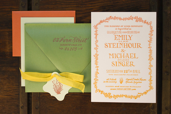 Hand Lettered Wedding Invitations Ladyfingers Letterpress OSBP2 Emily + Mikes Desert Botanical Wedding Invitations