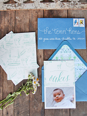 Letterpress Baby Announcement Ideas Tenn Hens Designs OSBP Oakess Nature Inspired Letterpress Baby Announcements