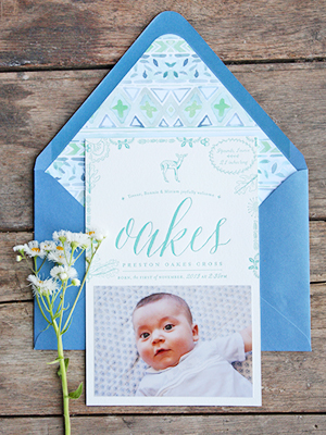 Letterpress Baby Announcement Ideas Tenn Hens Designs OSBP2 Oakess Nature Inspired Letterpress Baby Announcements
