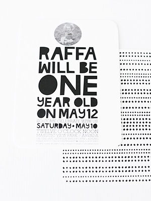 Modern Black White First Birthday Party Invitation Hello There Design OSBP3 Raffas Modern First Birthday Party Invitations