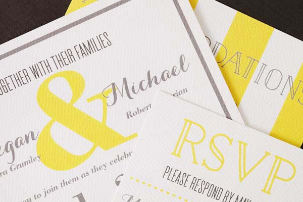 Modern Yellow Wedding Invitations Sugar and Type OSBP2 Megan + Mikes Rustic Modern Yellow Wedding Invitations