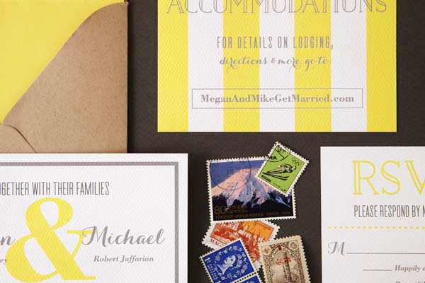Modern Yellow Wedding Invitations Sugar and Type OSBP6 Megan + Mikes Rustic Modern Yellow Wedding Invitations