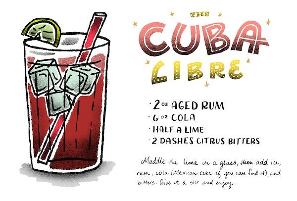 Signature Cocktail Recipe Card Cuba Libre OSBP Shauna Lynn Illustration Friday Happy Hour: The Cuba Libre