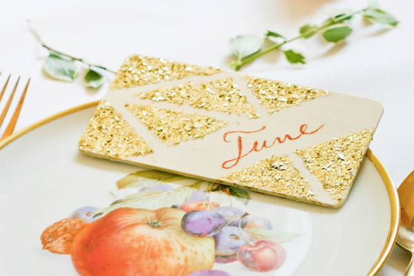 DIY Glitter Geometric Place Cards Flax Twine Wedding Stationery Inspiration: Geometric Shapes