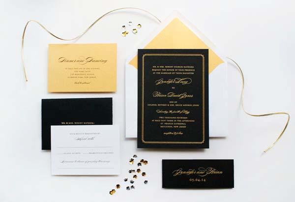 Gold Foil Black Wedding Invitations Sandra Picco Design OSBP10 Jennifer + Brians Gold Foil and Black Wedding Invitations