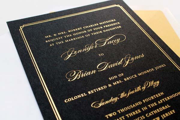 Gold Foil Black Wedding Invitations Sandra Picco Design OSBP3 Jennifer + Brians Gold Foil and Black Wedding Invitations