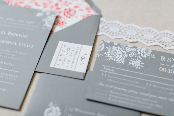 Gray White Foil Floral Wedding Invitations Paper Moss OSBP3 Ashley + Anthonys Gray and White Foil Wedding Invitations