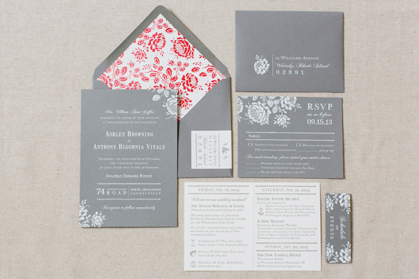 Gray White Foil Floral Wedding Invitations Paper Moss OSBP5 Ashley + Anthonys Gray and White Foil Wedding Invitations