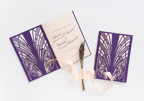 Lasercut Great Gatsby Wedding Invitations Coral Pheasant OSBP5 Nicole + Patricks Vintage Inspired Lasercut Wedding Invitations