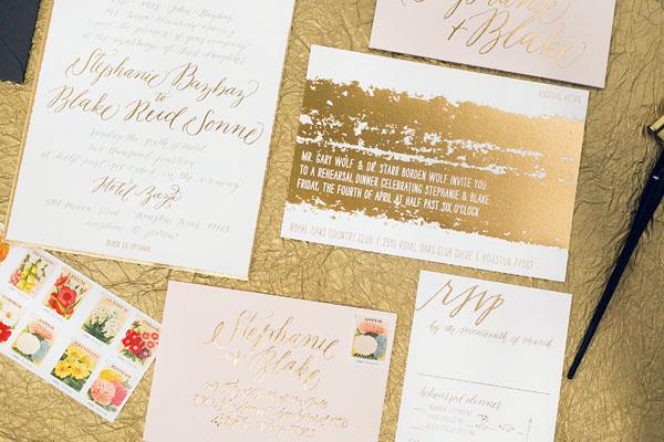 Painterly Gold Foil Wedding Invitations5 Stephanie + Blakes Painterly Gold Foil Wedding Invitations
