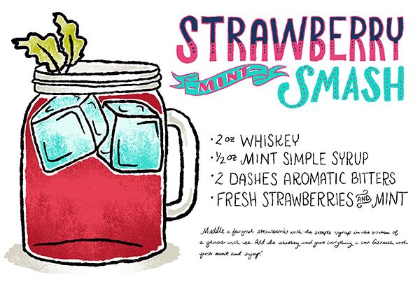 Strawberry Mint Smash Cocktail Recipe Card Shauna Lynn Illustration OSBP Friday Happy Hour: The Strawberry Mint Smash