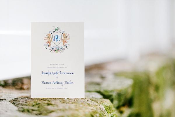 Watercolor Gold Foil Crest Wedding Invitations Roseville Designs OSBP10 Jennifer + Barrons Gold Foil Watercolor Crest Wedding Invitations