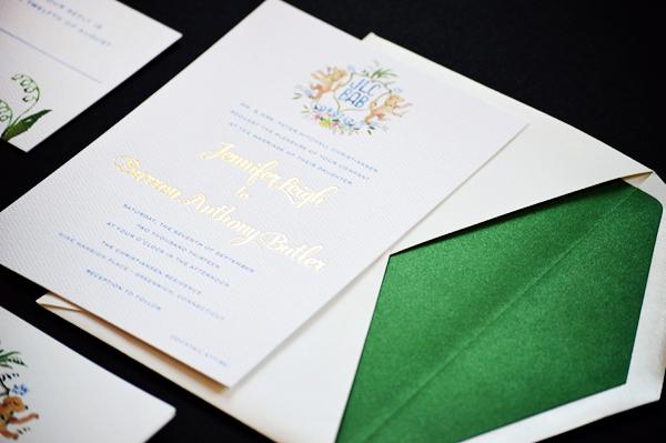 Watercolor Gold Foil Crest Wedding Invitations Roseville Designs OSBP2 Jennifer + Barrons Gold Foil Watercolor Crest Wedding Invitations