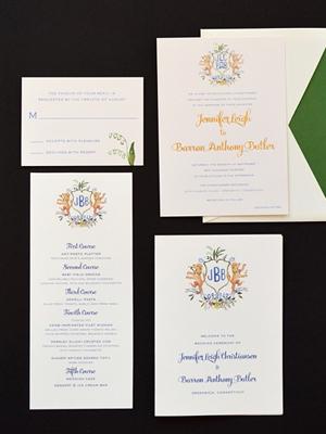 Watercolor Gold Foil Crest Wedding Invitations Roseville Designs OSBP6 Jennifer + Barrons Gold Foil Watercolor Crest Wedding Invitations