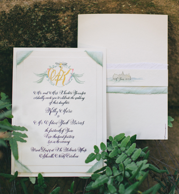 Biltmore Estate Inspired Watercolor Wedding Invitations Momental Designs OSBP 3 Hand Painted Wedding Invitation Inspiration