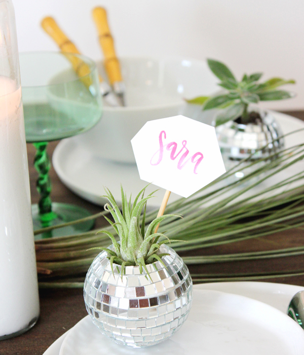 DIY Tutorial Disco Ball Place Cards Lauren Saylor OSBP3 DIY Tutorial: Mini Disco Ball Place Cards