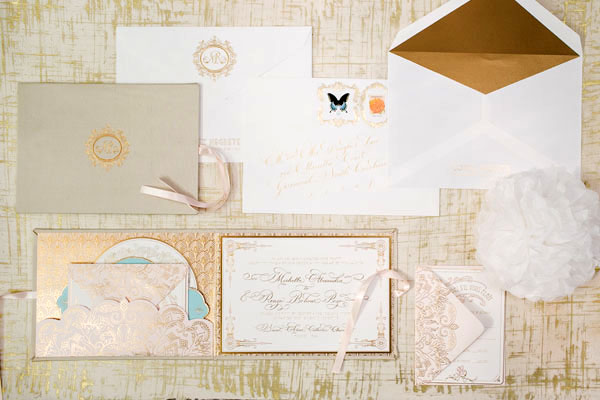 Elegant Gold Foil Blush Pink Wedding Invitations Papellerie OSBP Michelle + Renzos Elegant Gold Foil Wedding Invitations