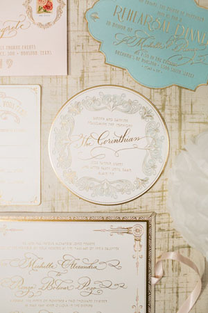 Elegant Gold Foil Blush Pink Wedding Invitations Papellerie OSBP3 Michelle + Renzos Elegant Gold Foil Wedding Invitations