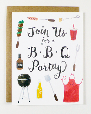 Four Wet Feet Illustrated Fill In Party Invitations BBQ Quick Pick: Four Wet Feet