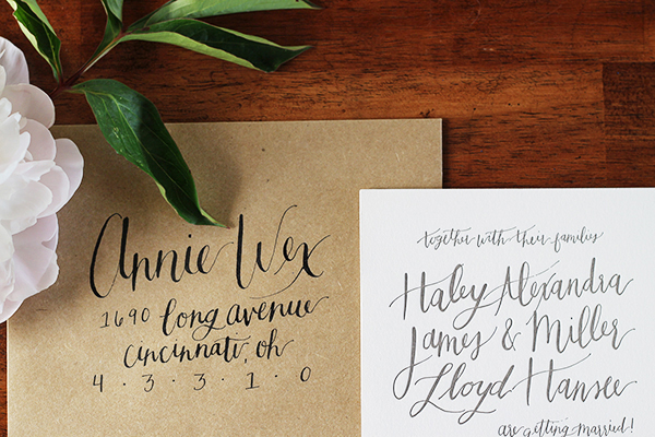 Informal Calligraphy Letterpress Wedding Invitations Goodheart Design4 Haley + Millers Informal Calligraphy Wedding Invitations