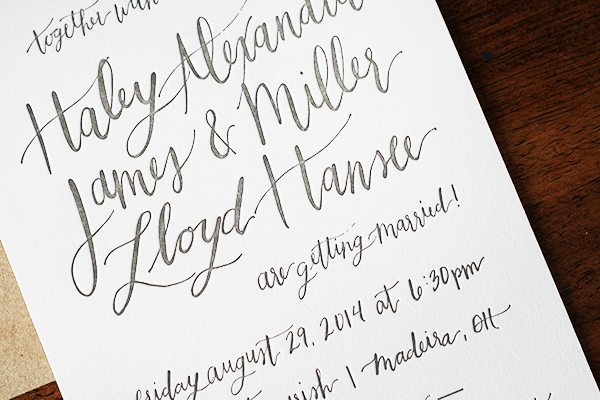 Informal Calligraphy Letterpress Wedding Invitations Goodheart Design9 Haley + Millers Informal Calligraphy Wedding Invitations