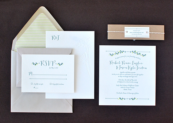 Minimalist Nature Inspired Letterpress Wedding Invitations Studio SloMo Rachel + Jasons Modern Nature Inspired Wedding Invitations