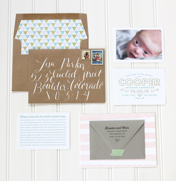 Modern Custom Birth Announcement Paper Parcel OSBP Coopers Whimsical + Modern Birth Announcements