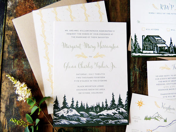 Mountain Evergreen Wedding Invitations Harken Press2 Margaret + Glenns Mountain Inspired Wedding Invitations
