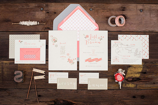 Pink Letterpress Wedding Invitations RuffHouseArt OSBP Jill + Brians Modern Pink Letterpress Wedding Invitations