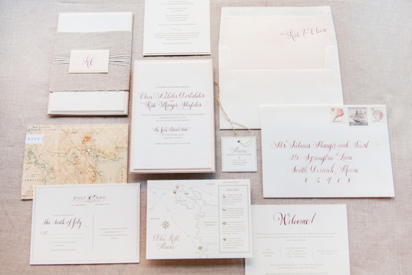 Romantic Rose Gold Wedding Invitations Gus and Ruby Letterpress Kate + Cleons Romantic Rose Gold Foil Wedding Invitations