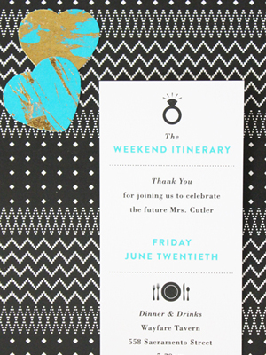 Teal Gold Modern Bachelorette Party Invitations Vellum Vogue OSBP12 Alanas Modern Teal + Gold Bachelorette Party Itineraries