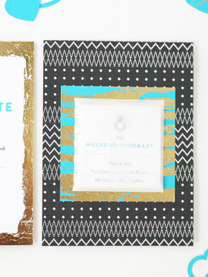 Teal Gold Modern Bachelorette Party Invitations Vellum Vogue OSBP13 Alanas Modern Teal + Gold Bachelorette Party Itineraries