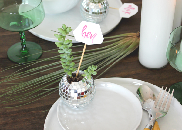disco ball succulent place card 8 DIY Tutorial: Mini Disco Ball Place Cards