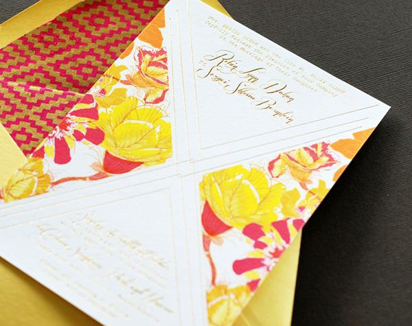 Colorful Floral Gold Foil Wedding Invitations Umama OSBP3 Robin + Sergeis Floral and Gold Foil Wedding Invitations