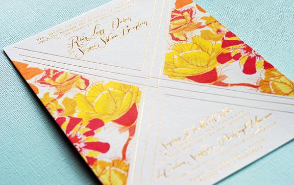 Colorful Floral Gold Foil Wedding Invitations Umama OSBP8 Robin + Sergeis Floral and Gold Foil Wedding Invitations