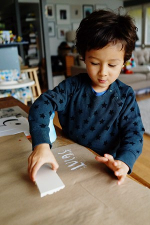 DIY with Kids Hand Stamped Gift Wrap Good on Paper10 300x450 DIY with Kids: Hand Carved Stamp Wrapping Paper