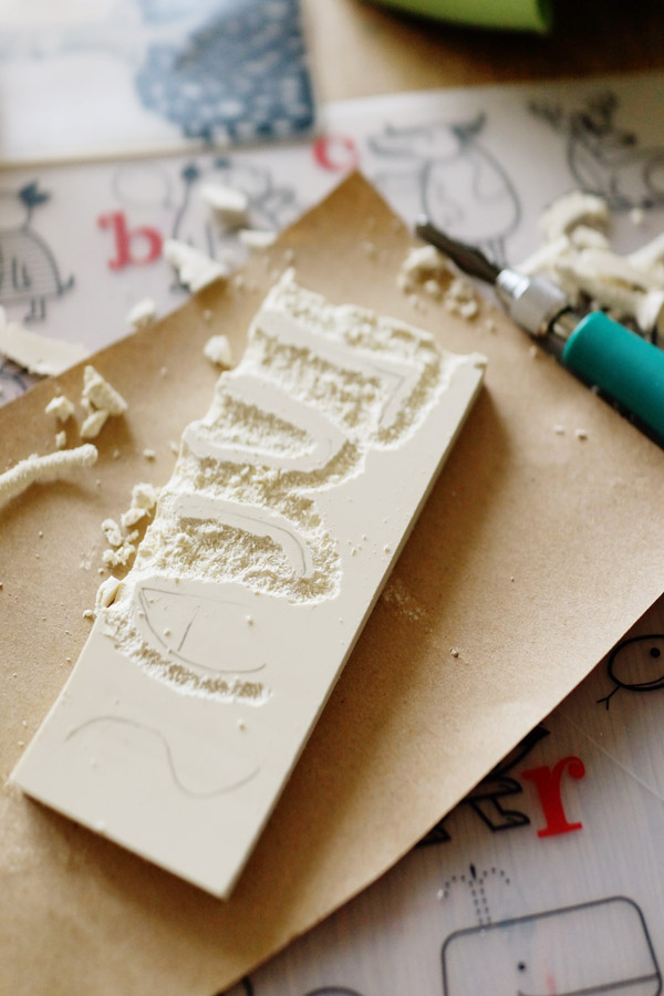 DIY with Kids Hand Stamped Gift Wrap Good on Paper2 DIY with Kids: Hand Carved Stamp Wrapping Paper