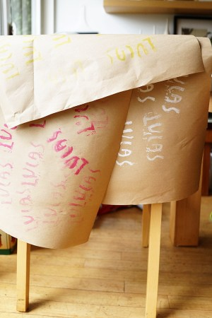 DIY with Kids Hand Stamped Gift Wrap Good on Paper39 300x450 DIY with Kids: Hand Carved Stamp Wrapping Paper