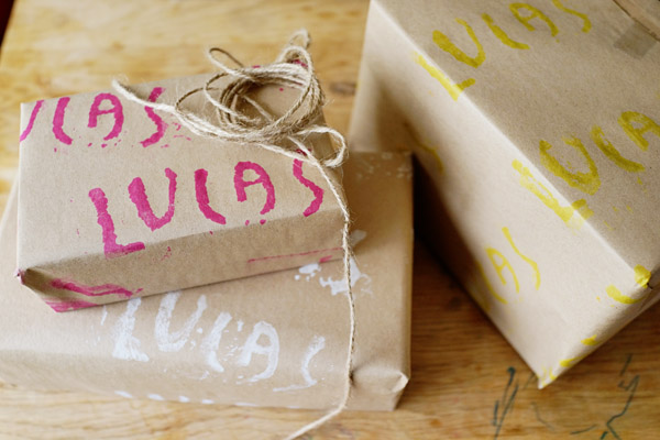 DIY with Kids Hand Stamped Gift Wrap Good on Paper46 DIY with Kids: Hand Carved Stamp Wrapping Paper