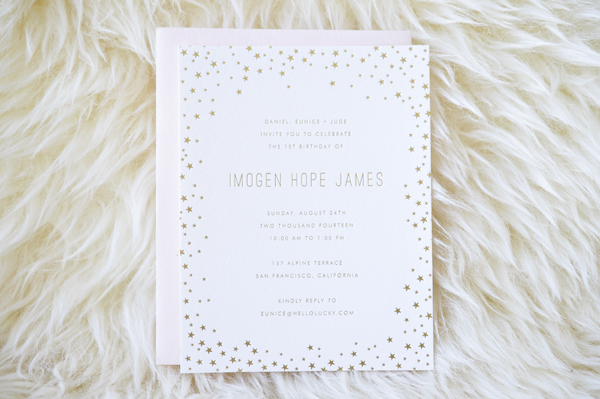 Hello Lucky Pink Gold Foil Star Birthday Party Invitations OSBP Hello!Lucky: Imogens Pink and Gold Birthday Party