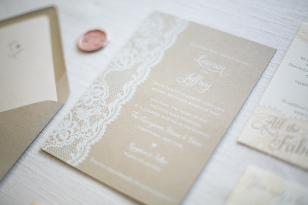 Kraft Paper Lace Wedding Invitations Ruby the Fox OSBP Lauren + Jeffs Lace and Kraft Paper Wedding Invitations